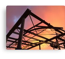 Boat Lift with Sunday Sunset Canvas Print