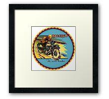 Raleigh Vintage Motorcycles England Framed Print