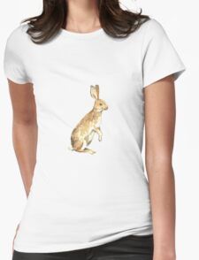 Watercolor Rabbit Womens Fitted T-Shirt