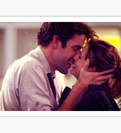 Jim and Pam proposal kissing Sticker