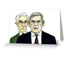 Gordon Brown and Alistair Darling caricature Greeting Card