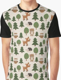 Woods Animals Pattern Graphic T-Shirt