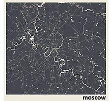 Minimal Maps - Moscow - Dark Photographic Print