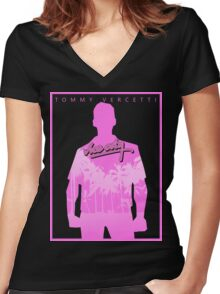 Vice City Pink Women's Fitted V-Neck T-Shirt