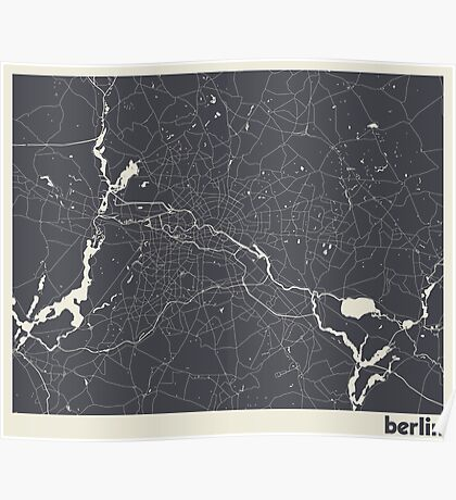 Minimal Maps - Berlin - Dark Poster