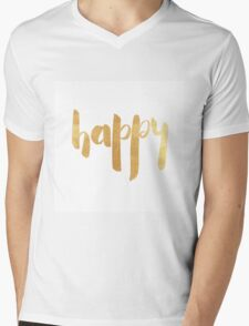 Happy in gold Mens V-Neck T-Shirt