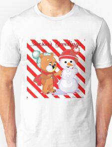 Cute Bear Building Snowman With Candy Cane Background Unisex T-Shirt