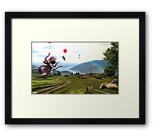 landscape with cows Framed Print