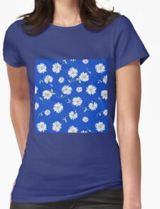 deep blue,white spoon flowers Womens Fitted T-Shirt