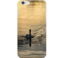 Golden Watercolor Ripples - the Gliding Swan iPhone Case/Skin