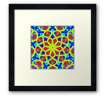 Mandala With Yellow Red And Blue Framed Print