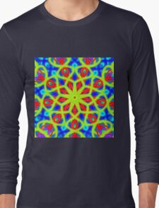 Mandala With Yellow Red And Blue Long Sleeve T-Shirt