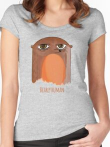 Bear Watercolor Bearly Human Woodland Funny Print Women's Fitted Scoop T-Shirt
