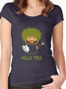 Bob ross happy tree t shirt Women's Fitted Scoop T-Shirt
