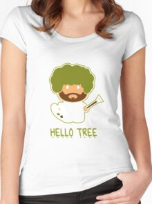 Bob ross happy tree t shirt Women's Fitted Scoop T-Shirt