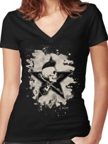 Rock-n-Roll Skull - bleached Women's Fitted V-Neck T-Shirt