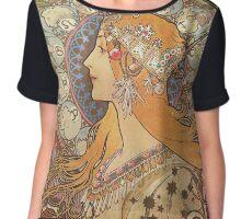 Alphonse Mucha Art Nouveau - La Plume Chiffon Top