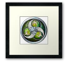 Green Triple Norse Dragons Shield Framed Print