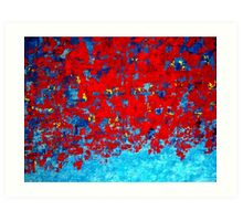 Red and Blue Abstract Knife Painting, Impasto Style by Holly Anderson Artist Art Print