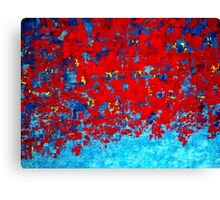 Red and Blue Abstract Knife Painting, Impasto Style by Holly Anderson Artist Canvas Print