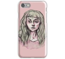 Green and Pink Watercolor Portrait  iPhone Case/Skin