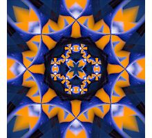 Bold blue and orange organic pattern Photographic Print