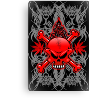 Red Fire Skull with Tribal Tattoos Canvas Print