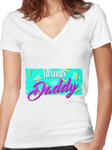 Anxious Daddy Women's Fitted V-Neck T-Shirt