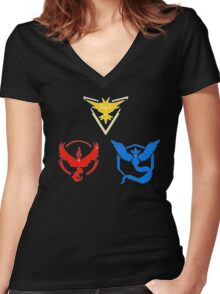 Team Instinct, Mystic, and Valor Women's Fitted V-Neck T-Shirt