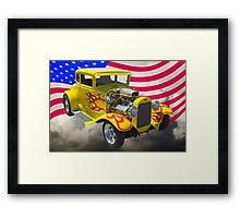 1930 Model A Hot Rod And American Flag Framed Print