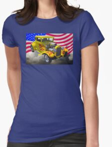 1930 Model A Hot Rod And American Flag Womens Fitted T-Shirt