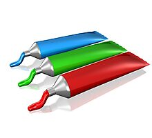 Red Green Blue Cream colors Photographic Print
