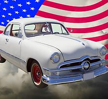 1950 Ford Custom Antique Car With American Flag by KWJphotoart