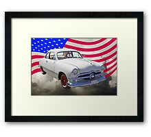1950 Ford Custom Antique Car With American Flag Framed Print
