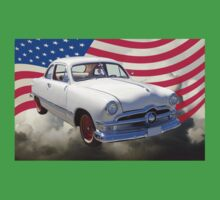 1950 Ford Custom Antique Car With American Flag Kids Clothes