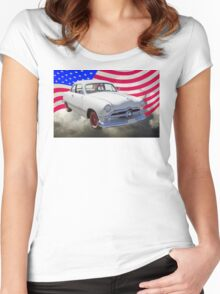 1950 Ford Custom Antique Car With American Flag Women's Fitted Scoop T-Shirt