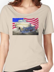 1948 Pontiac Silver Streak With American Flag Women's Relaxed Fit T-Shirt