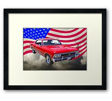 1966 Chevy Chevelle SS 396 and United States Flag Framed Print