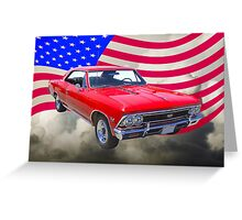1966 Chevy Chevelle SS 396 and United States Flag Greeting Card