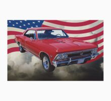 1966 Chevy Chevelle SS 396 and United States Flag One Piece - Long Sleeve