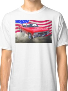 1966 Chevy Chevelle SS 396 and United States Flag Classic T-Shirt