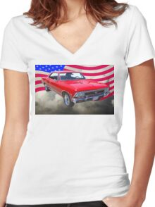 1966 Chevy Chevelle SS 396 and United States Flag Women's Fitted V-Neck T-Shirt