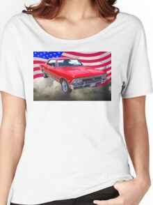 1966 Chevy Chevelle SS 396 and United States Flag Women's Relaxed Fit T-Shirt