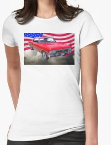 1966 Chevy Chevelle SS 396 and United States Flag Womens Fitted T-Shirt