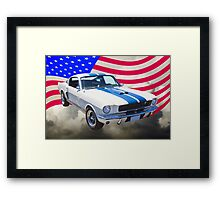 1965 GT350 Mustang Muscle Car With American Flag Framed Print