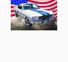 1965 GT350 Mustang Muscle Car With American Flag Unisex T-Shirt