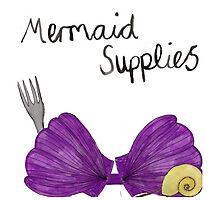 Mermaid Supplies Beach Tote Bag by emilylaura