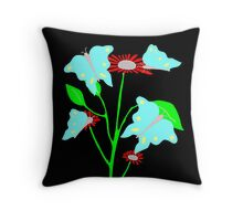 Blue Butterfly Design by Kat Worth Throw Pillow