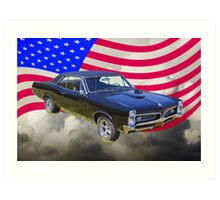 Black 1967 Pontiac GTO with American Flag Art Print