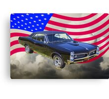 Black 1967 Pontiac GTO with American Flag Canvas Print